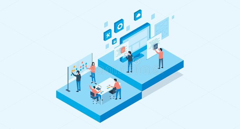 Isometric flat vector web develop and web design team royalty free illustration
