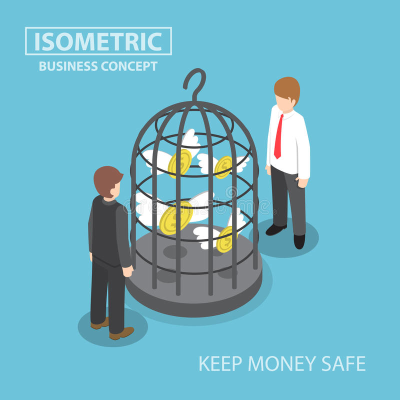 Isometric flying dollar trapped in bird cage stock illustration
