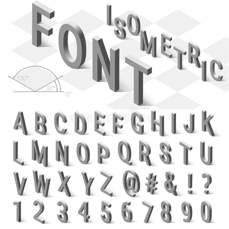 Isometric font alphabet with drop shadow on white stock photography