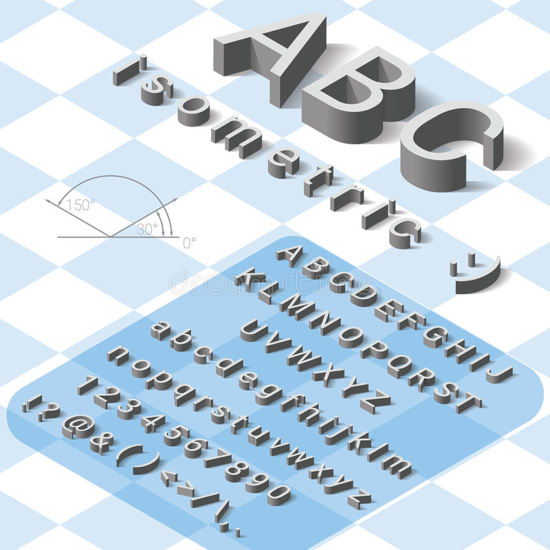 Isometric font alphabet with drop shadow on white royalty free stock image