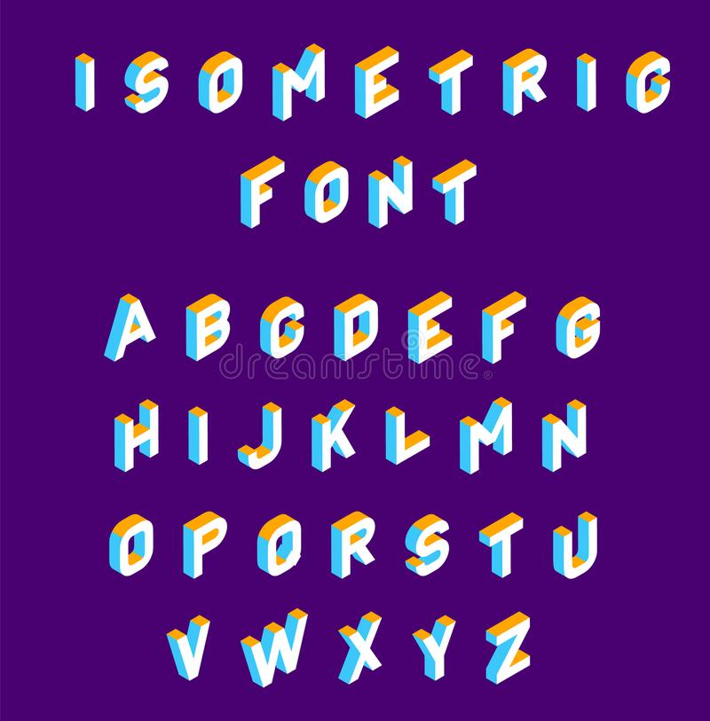 Isometric font . olored isometric 3d letters , Three-dimensional alphabet. Low poly 3d characters. Vector illustration.  royalty free illustration