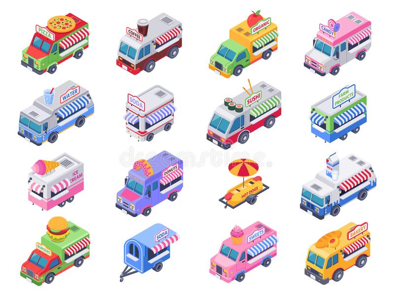 Isometric food trucks. Street carts, hot dog truck and outdoor coffee selling market 3d vector illustration set. Isometric food trucks. Street carts, hot dog vector illustration