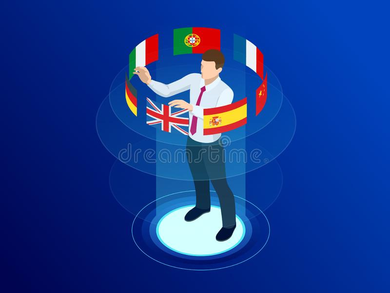 Isometric foreign language online dictionaries, multilingual audio guide, web translation, online translation agency vector illustration