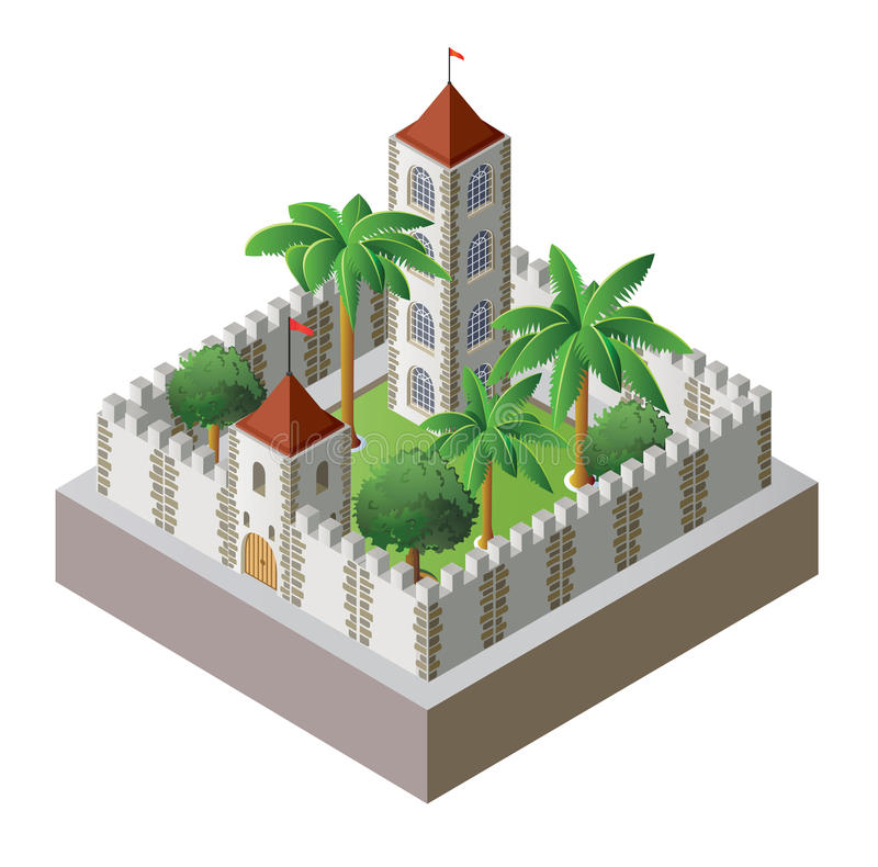 Isometric fortress. Vector isometric fortress surrounded by a wall with a garden royalty free illustration