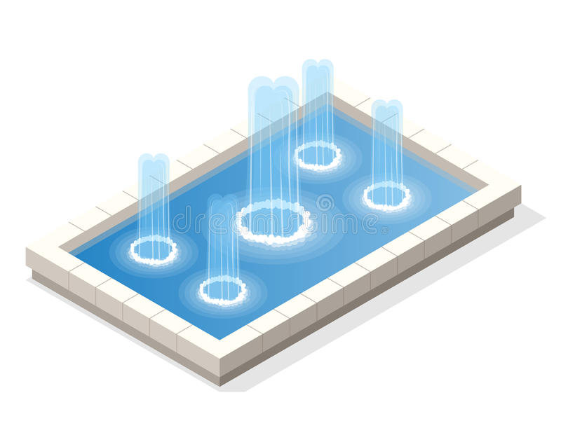 Isometric fountain water spout spray in basin on white background. Isometric fountain water spout spray in basin on white background vector illustration