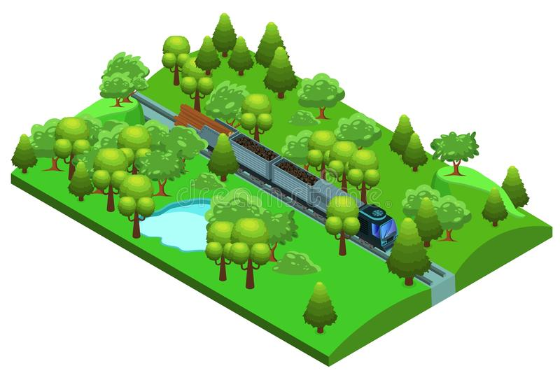 Isometric Freight Train Template royalty free illustration
