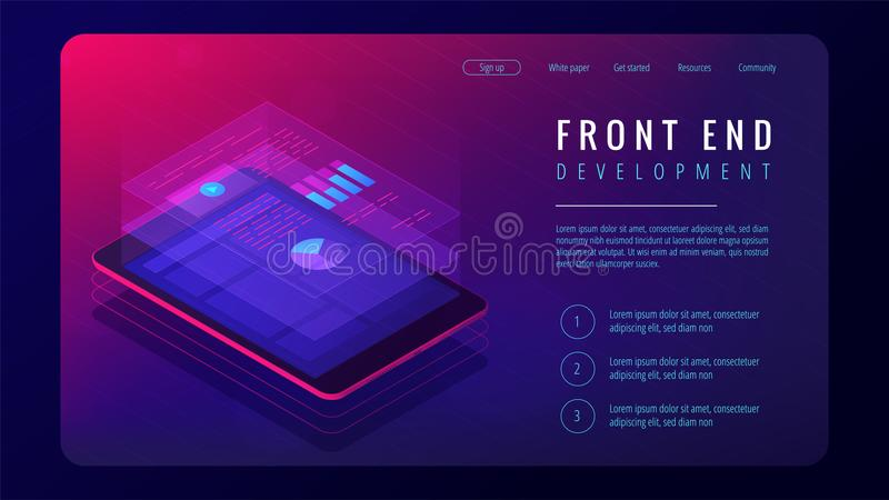 Isometric front end development landing page concept. royalty free illustration