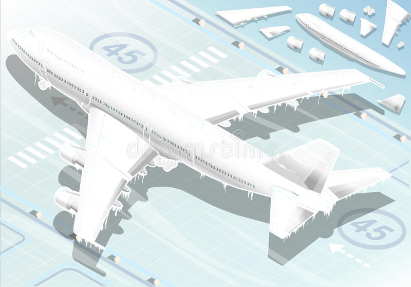 Isometric Frozen Airplane in Rear View royalty free illustration