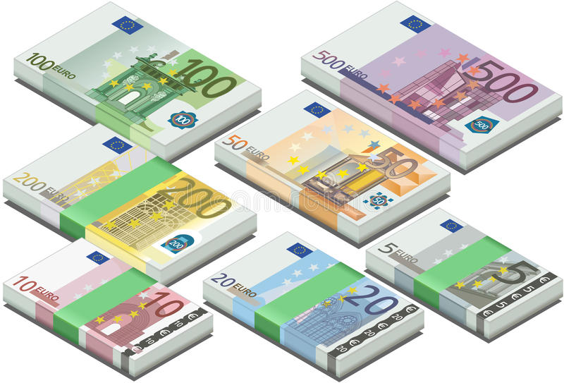 Isometric full set of euro banknotes vector illustration