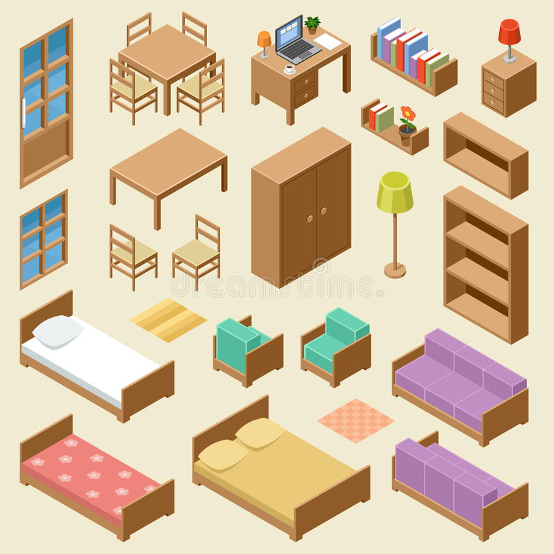 Bedroom Interior Design Set Furniture Vector ~ Isometric furniture set stock vector image