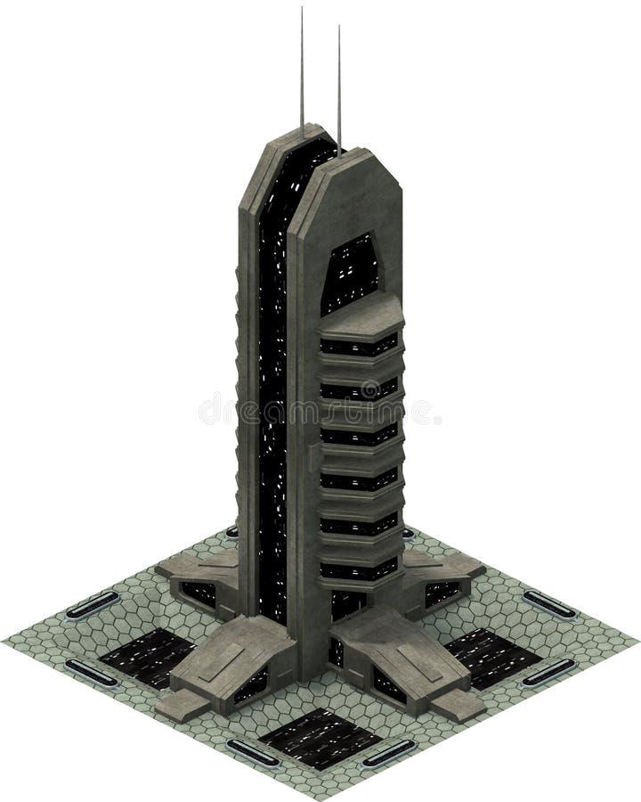 Isometric futurystyczna fantastyka naukowa architektura, przestrzeni wierza świadczenia 3 d royalty ilustracja