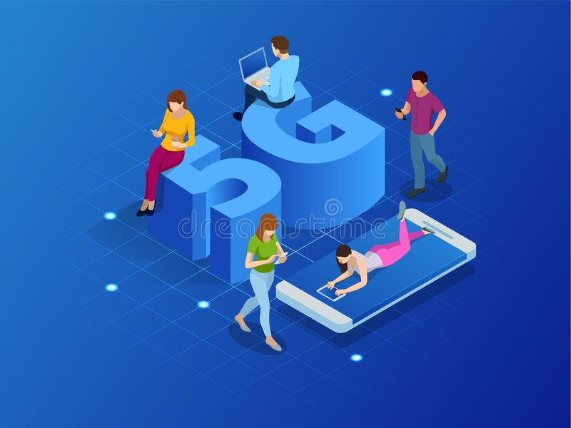 Isometric 5G network wireless systems and internet vector illustration. Communication network, Business concept. stock illustration