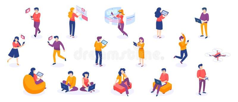 Isometric gadżety i ludzie Młodzi człowiecy i kobieta charaktery z smartphones i gadżetami Wektorowy freelance biznes royalty ilustracja