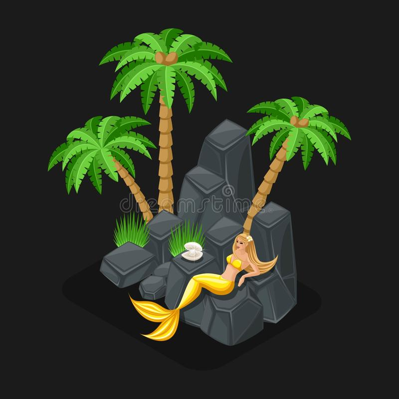Isometric game concept of a cartoon with a fairy-tale character, a mermaid guards a pearl, a girl, the sea, islands, stones royalty free illustration