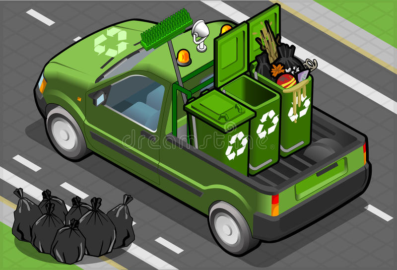 Isometric Garbage Pick Up in Rear View royalty free illustration