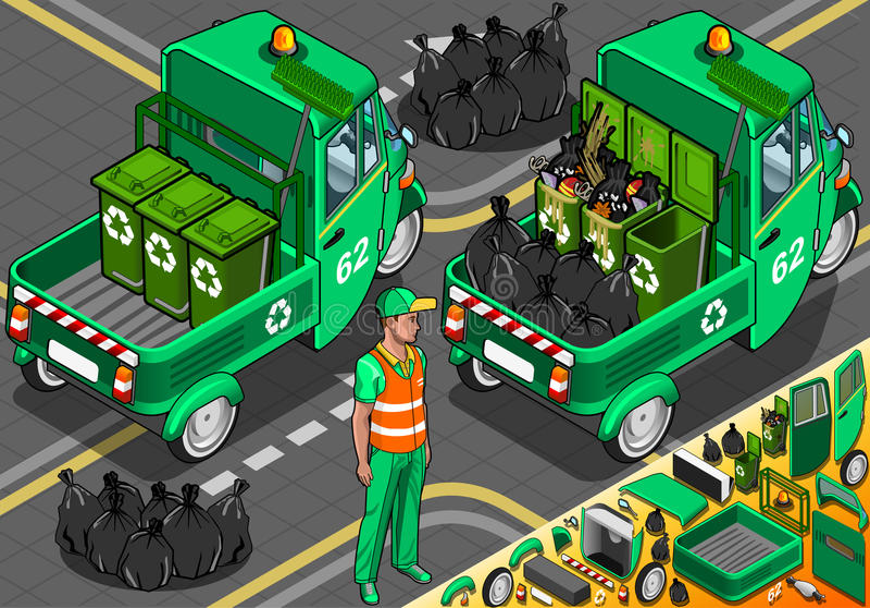 Isometric Garbage Rickshaw in Rear View vector illustration