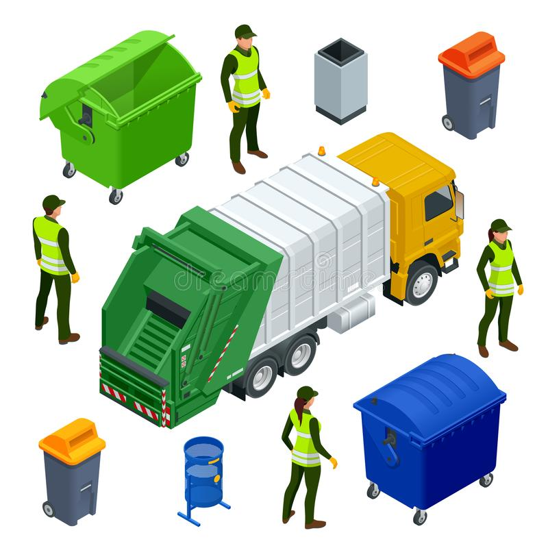 Isometric Garbage Truck or Recycle Truck in City. Garbage Recycling and Utilization Equipment. City waste recycling. Concept with garbage truck. Vector vector illustration