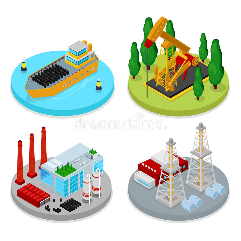 Isometric Gas and Oil Industry. Industrial Plant, Platform Drilling and Barrels. Fuel Production vector illustration
