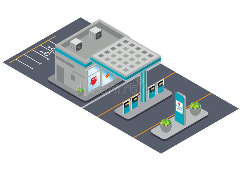 Download Isometric gas station stock vector. Image of business - 35847836