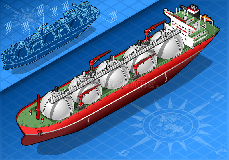 Isometric Gas Tanker Ship in Front View. Detailed illustration of a Isometric Gas Tanker Ship in rear view This illustration is saved in EPS10 with color space royalty free illustration