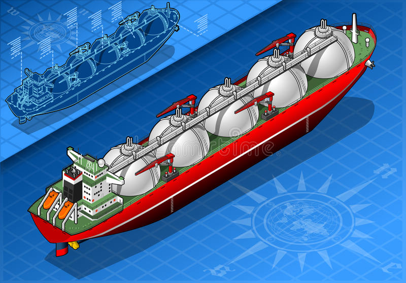 Isometric Gas Tanker Ship in Rear View. Detailed illustration of a Isometric Gas Tanker Ship in rear view This illustration is saved in EPS10 with color space in stock illustration