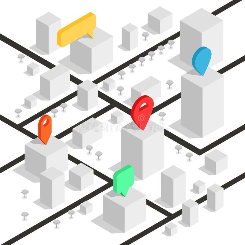 Isometric geolocation mapa z budynkami i drogami Minimalistic nawigaci mapa Lokacja z wałkowym pointerem _ ilustracja wektor
