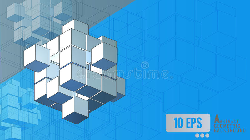 Isometric geometric cube movement on blue background royalty free illustration