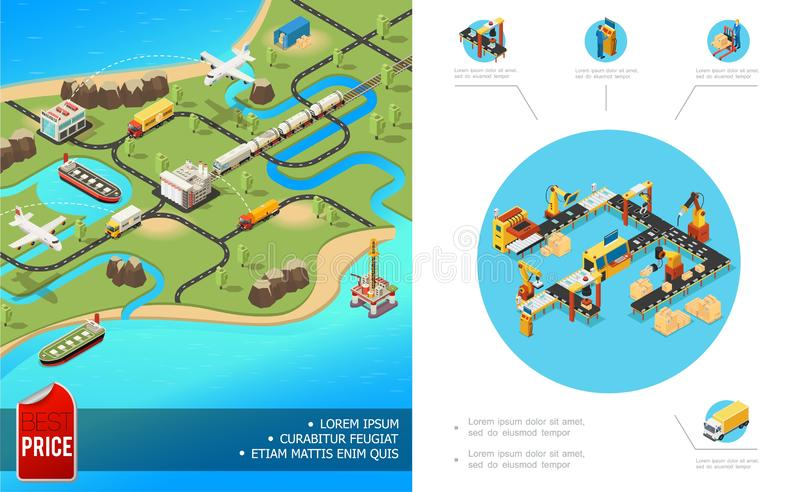 Isometric Global Logistics Composition stock illustration