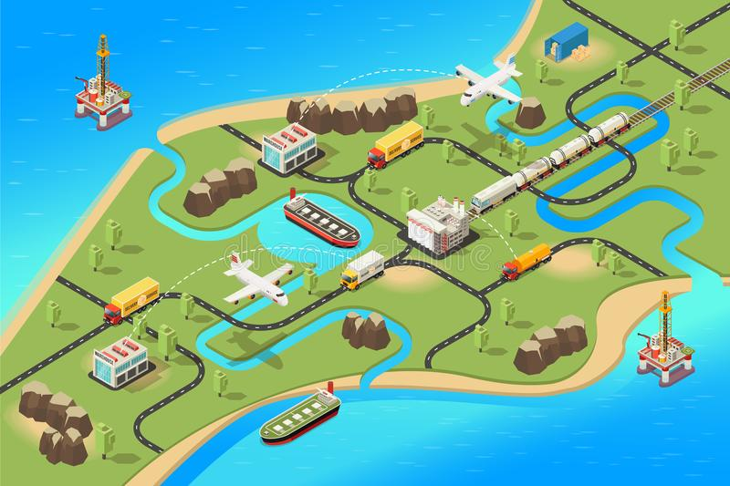 Isometric Global Logistics Concept vector illustration