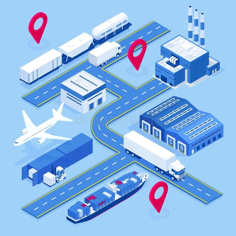 Isometric global logistics network. Air cargo, rail transportation, maritime shipping, warehouse, container ship. On vector illustration