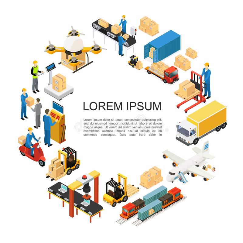 Isometric Global Logistics Round Concept stock illustration