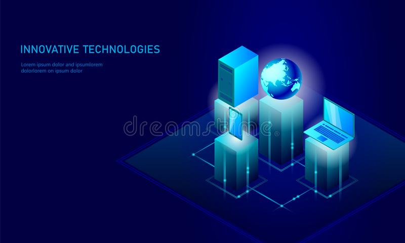Isometric global networking planet Earth business concept. Blue glowing isometric personal information data connection royalty free illustration