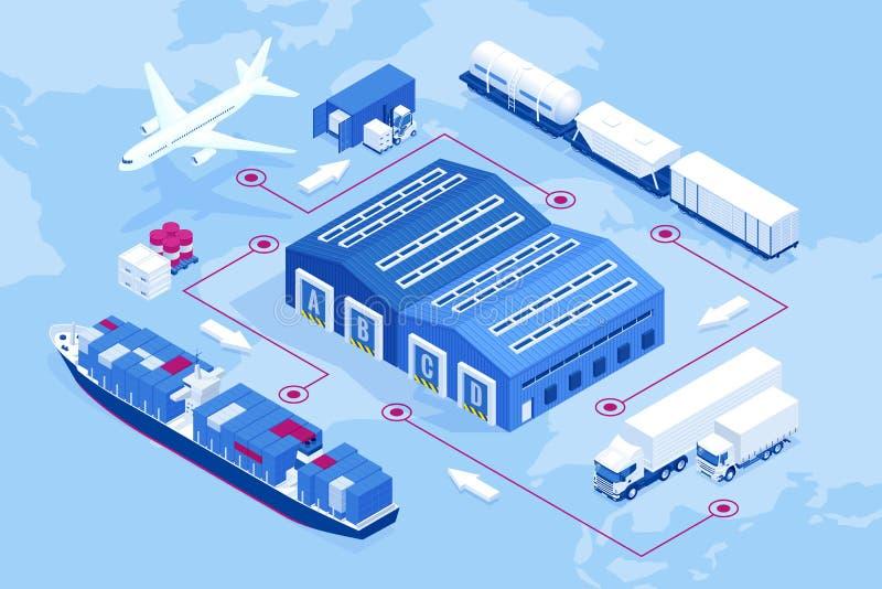 Isometric globalna logistyki sieć Lotniczy ładunek, sztachetowy transport, morska wysyłka, magazyn, zbiornika statek, miasto ilustracja wektor