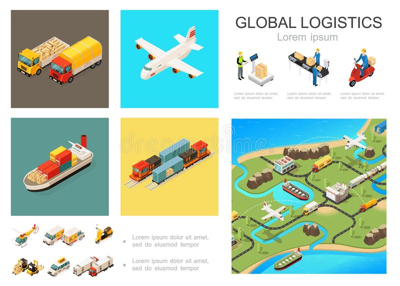 Isometric Globalny logistyki Infographic pojęcie ilustracji
