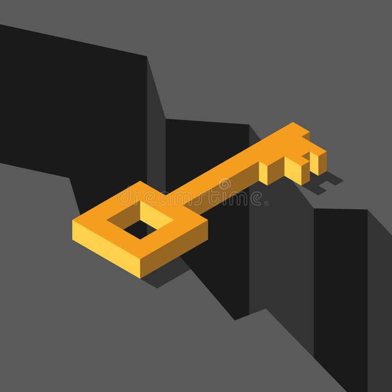Isometric gold key above abyss. Bridging the gap, solution and challenge concept. Flat design. Vector illustration, no. Transparency, no gradients royalty free illustration
