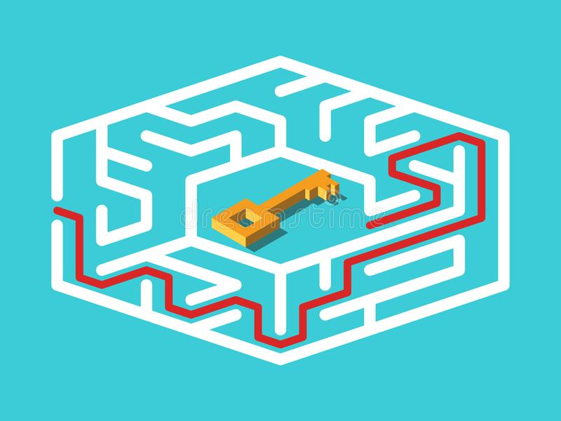 Isometric gold key in centre of maze and way to it on turquoise blue. Challenge, solution, motivation, problem and game concept. Flat design. Vector stock illustration