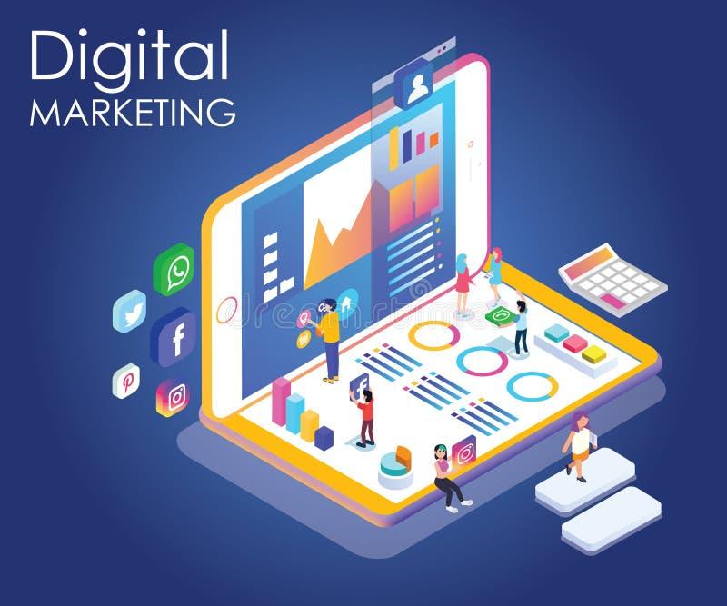 Isometric grafika ludzie promuje gatunek przez cyfrowego marketingu ilustracja wektor