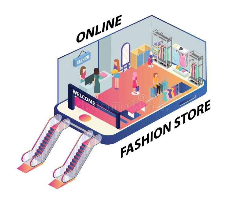 Isometric grafika ludzie robi zakupy online ilustracji