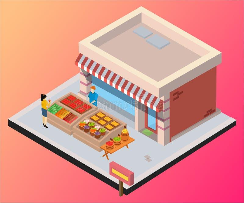 Isometric grafiki pojęcie sklepu sprzedawanie owoc & warzywo ilustracji