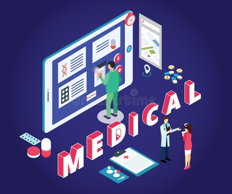 Isometric grafiki pojęcia online zakupy Isometric grafiki pojęcie handel elektroniczny medycyny, Dokąd normalni ludzie mogą kupow ilustracja wektor