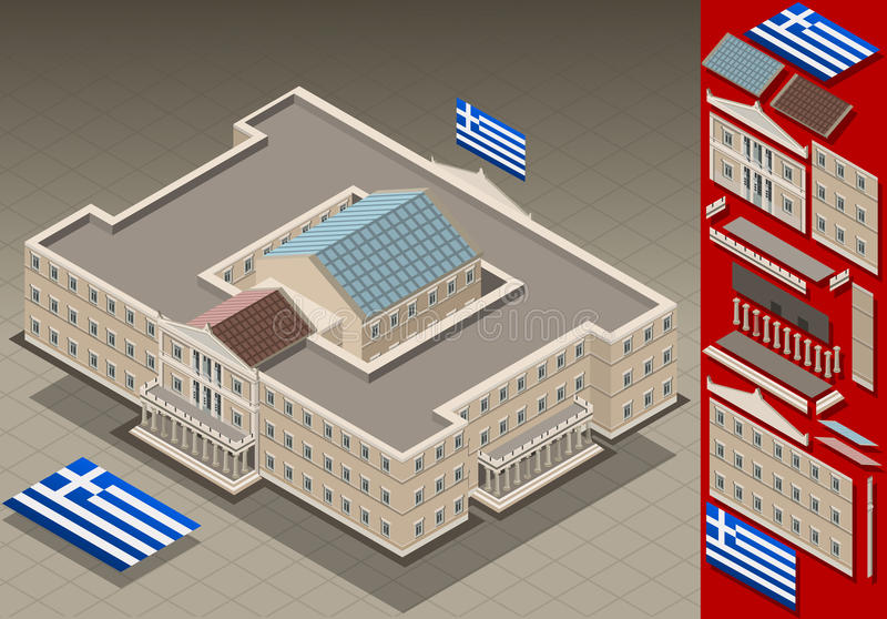 Isometric Greek Parliament. Detailed animation of a isometric Greek Parliament This illustration is saved in EPS10 with color space in RGB. Where possible, the stock illustration