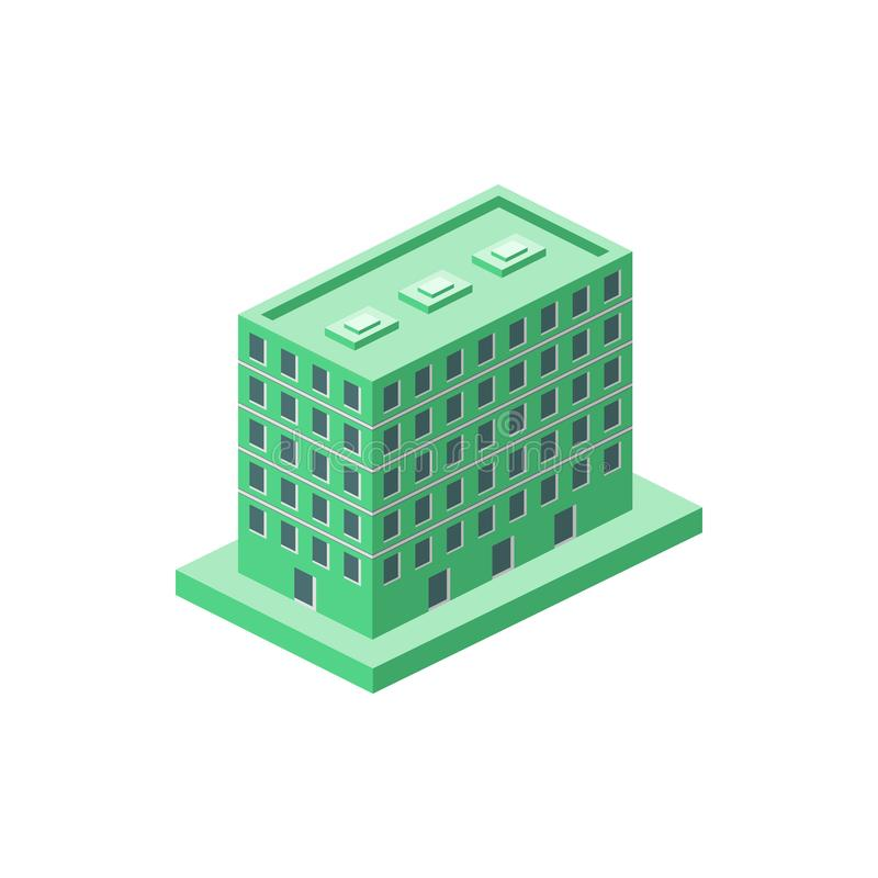 Isometric green apartments building. Element of color isometric building. Premium quality graphic design icon. Signs and symbols. Collection icon for websites royalty free illustration