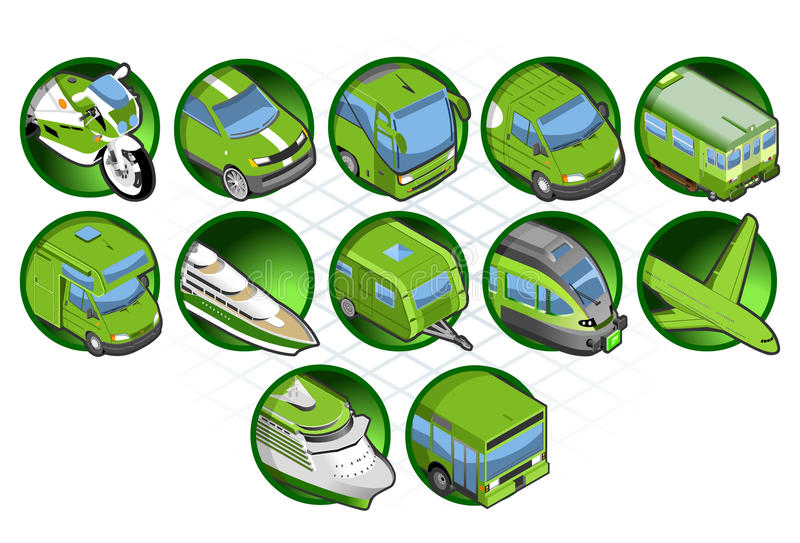 Isometric green icon stock illustration