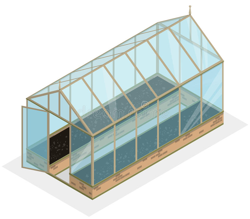 Isometric greenhouse with glass walls, foundations, gable roof, garden bed. stock illustration