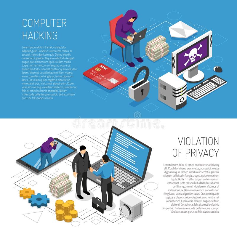 Isometric Hacker Banners Set royalty free illustration
