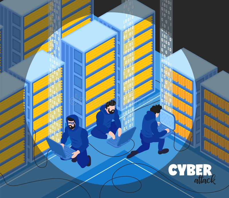 Hackers Isometric Background Composition stock illustration
