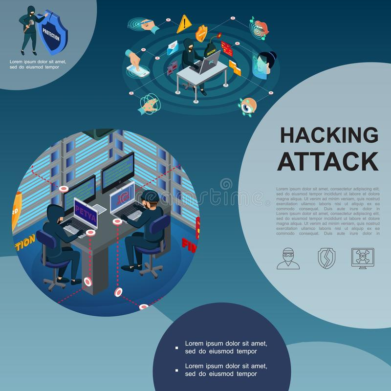 Isometric Hackers Attack Template royalty free illustration