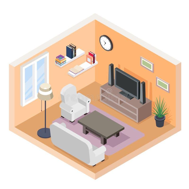 Isometric hall tv couch sofa bookshelf modern furniture room cutaway flat design isolated concept vector illustration vector illustration