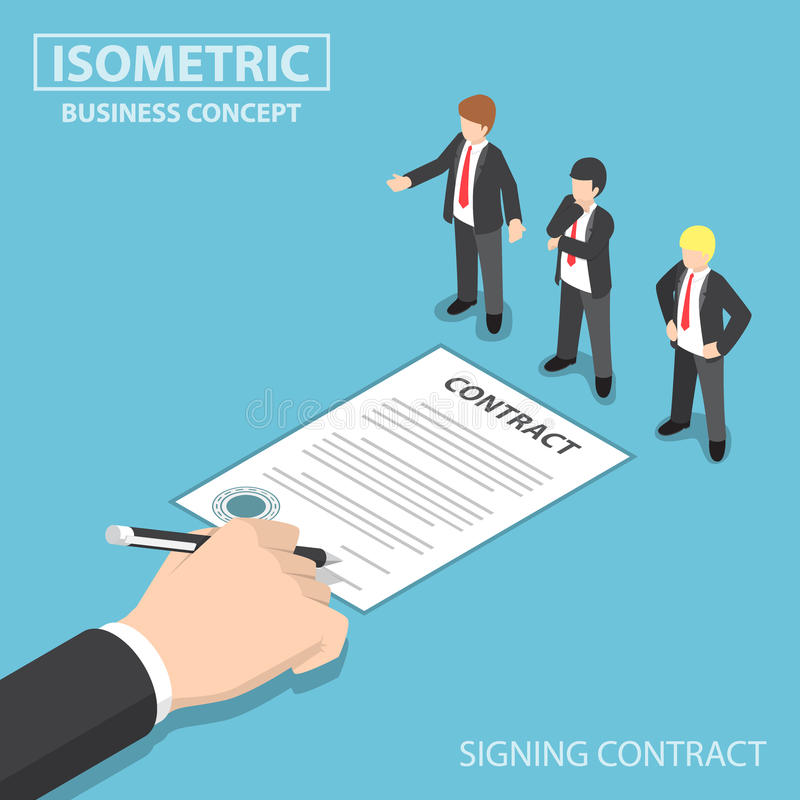Isometric Hand Signing Contract in front of CEO. Flat 3d Isometric Businessman Hand Signing Contract in front of CEO, Making Business Deal and Employment Concept vector illustration