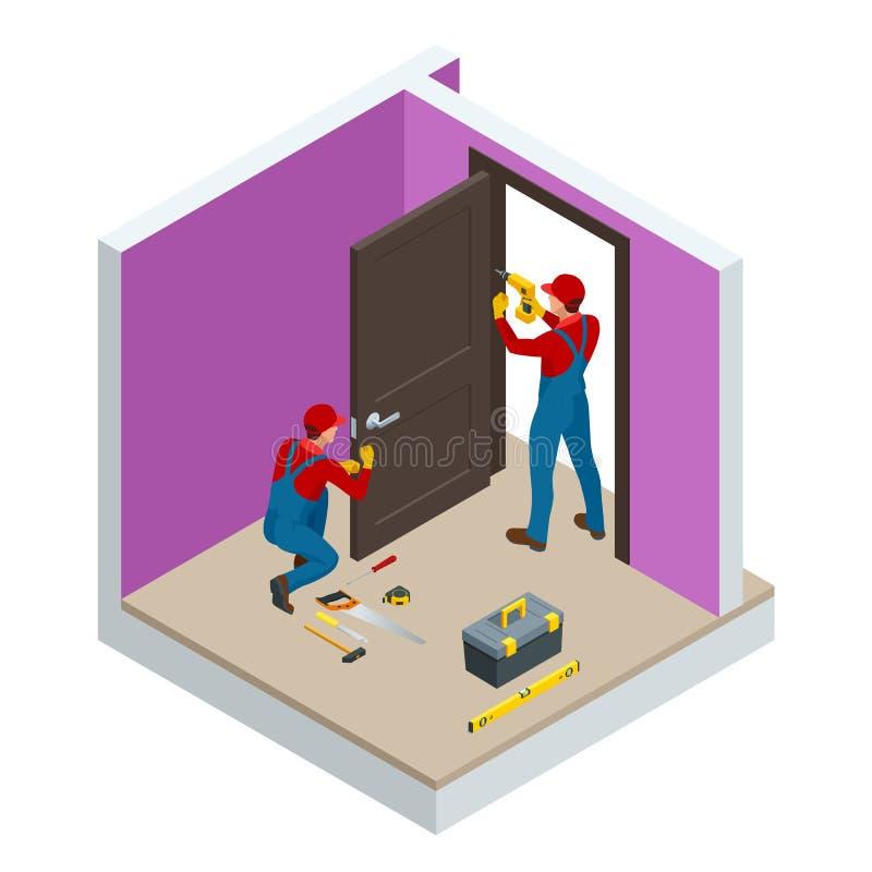Isometric handymans που εγκαθιστούν μια άσπρη πόρτα με ένα ηλεκτρικό τρυπάνι χεριών σε ένα δωμάτιο Βιομηχανία κτηρίου οικοδόμησης διανυσματική απεικόνιση